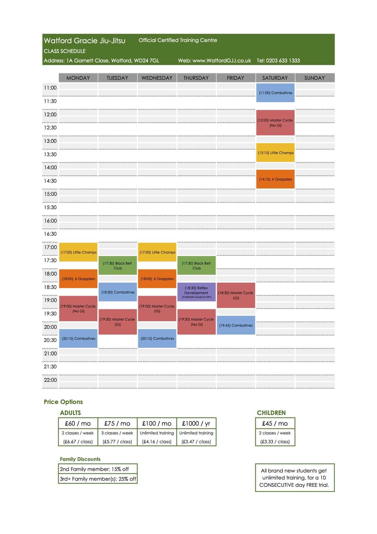 Watford GJJ Schedule May 2021